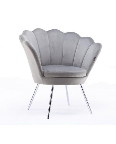 Fotel muszelka ARIA welur stalowy - chromowane nogi