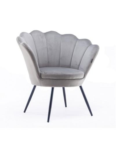 Fotel wypoczynkowy ARIA muszelka welur stalowy - czarne nogi