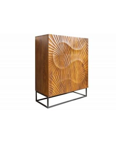INVICTA komoda SCORPION 100 cm brązowa - mango, lite drewno, metal