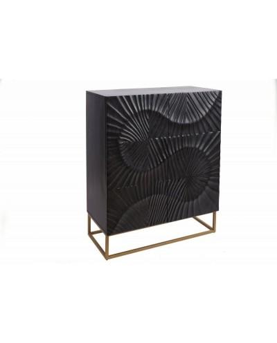 INVICTA komoda SCORPION 120 cm czarna - mango, lite drewno, metal