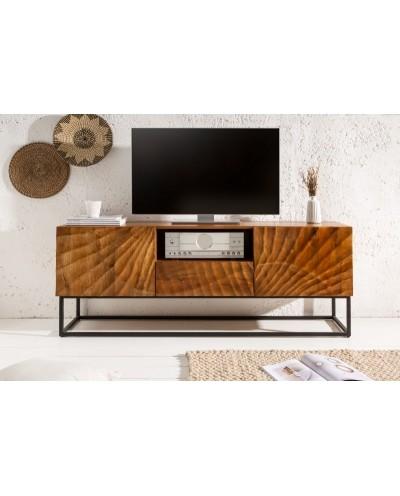 INVICTA szafka pod telewizor SCORPION - 160 cm, mango, brązowa, metal, lite drewno