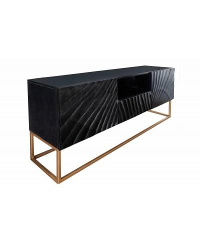INVICTA szafka pod telewizor SCORPION - 160 cm, mango, czarna, metal, lite drewno