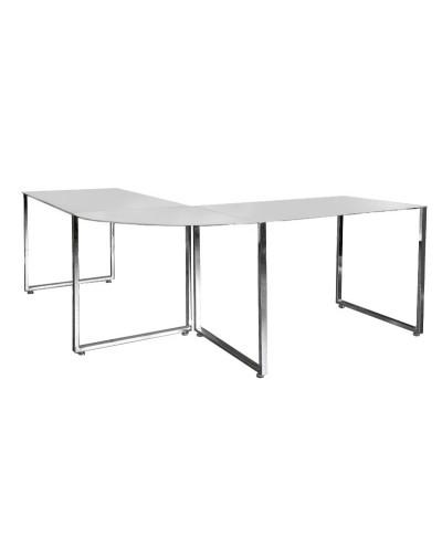 INVICTA biurko narożne BIG DEAL białe - szkło, metal chromowany