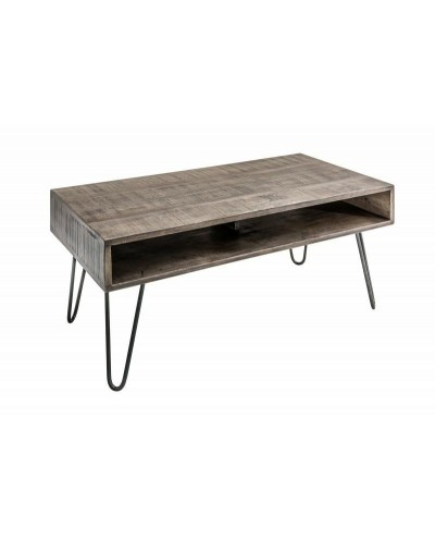 INVICTA stolik kawowy SCORPION 100 cm - mango, szary, drewno, żelazo