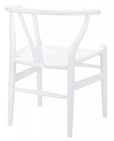 Krzesło WISHBONE białe - drewno bukowe, białe włókno