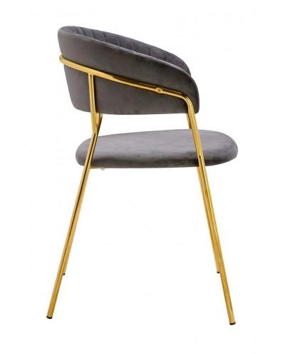 Krzesło MARGO ciemny szary - welur, podstawa złota
