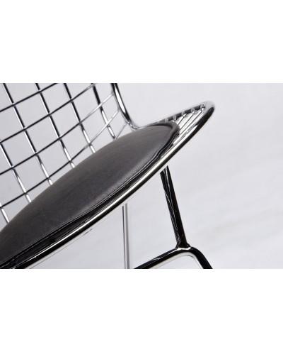 Krzesło NET SOFT chrom - czarna poduszka, metal