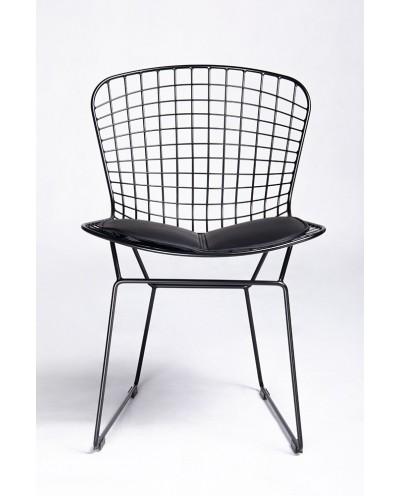 Krzesło NET SOFT czarne - czarna poduszka, metal