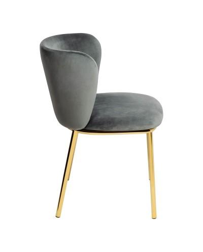 Krzesło MANTIS ciemny szary - welur, podstawa złota