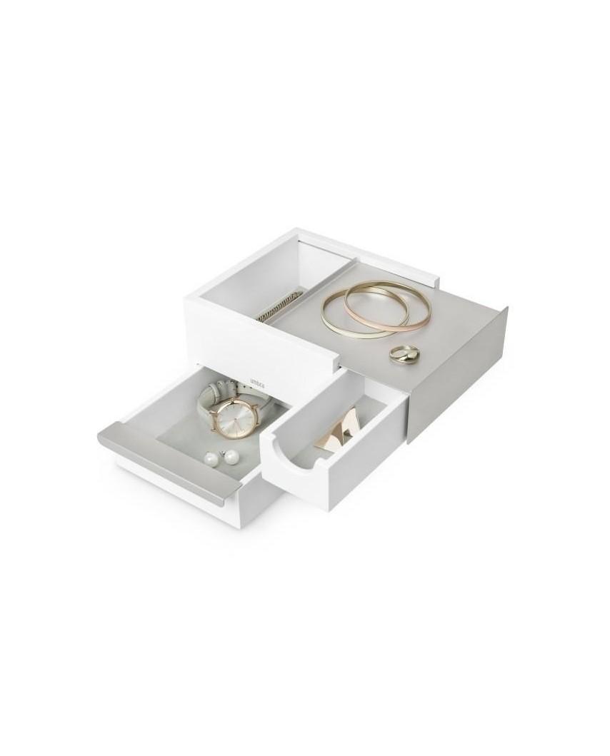 UMBRA pojemnik na biżuterię STOWIT MINI - biały,nikiel