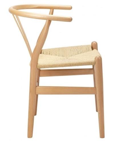 Krzesło WISHBONE natural - drewno bukowe, naturalne włókno