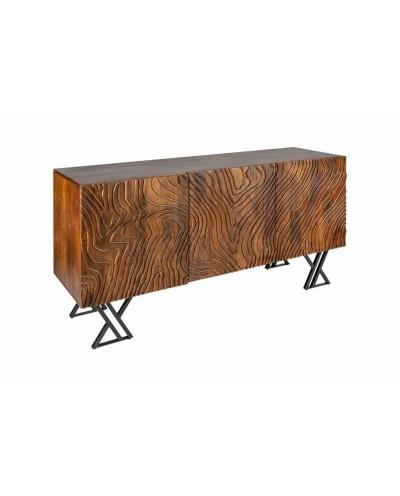INVICTA komoda FLUID 160 cm brązowa - Mango, drewno naturalne, metal