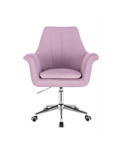 Welurowy fotel na kółkach MARKY wrzos / srebrny kółka chrom