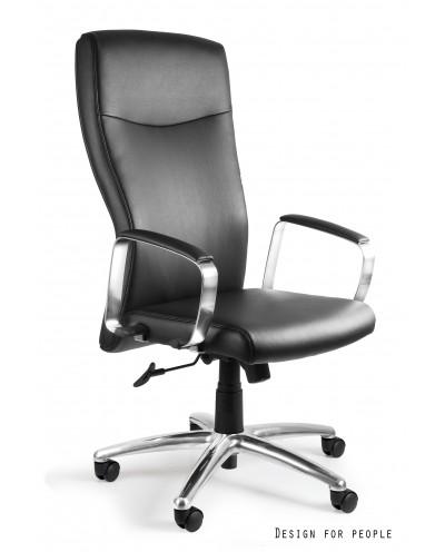 ADELLA HL - Czarny fotel biurowy skóra naturalna