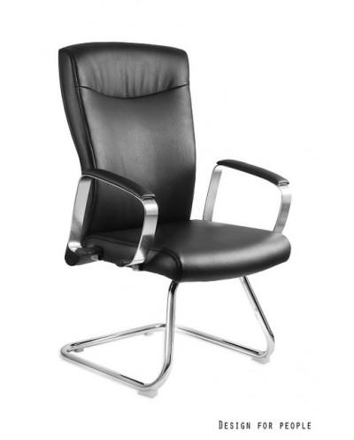 Krzesło konferencyjne ADELLA SKID czarne biurowe