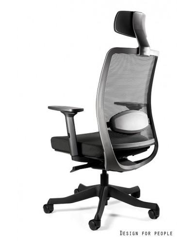Ergonomiczny fotel biurowy ANGGUN siatka czarny zagłówek