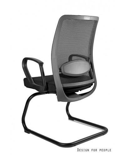 Biurowe krzesło konferencyjne ANGGUN SKID czarne siatka