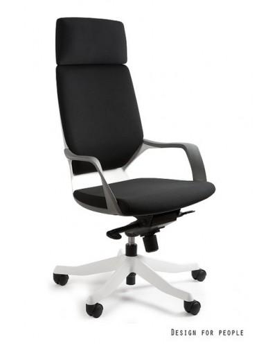 Fotel biurowy APOLLO czarna tapicerka / biała konstrukcja