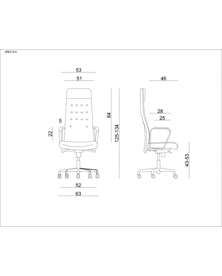 Skórzany fotel gabinetowy ARES HL czarny biurowy - skóra naturalna