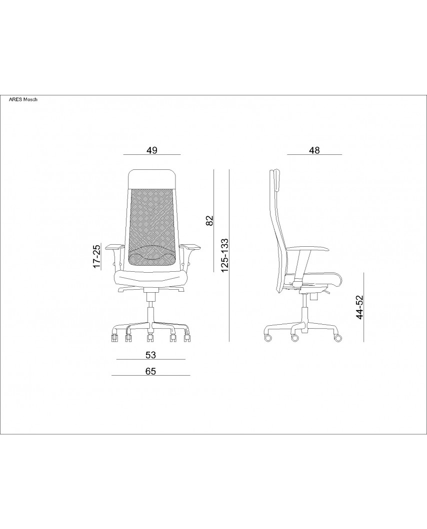 Obrotowy fotel biurowy ARES MESH czarny siatka