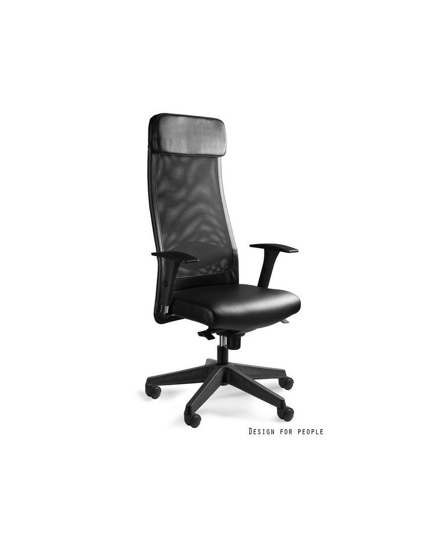 Obrotowy fotel biurowy ARES SOFT czarny siatka / skóra ekologiczna