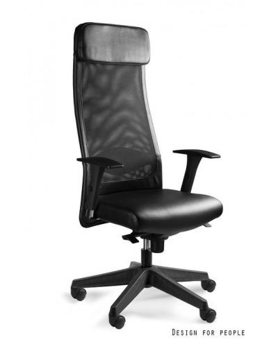 Obrotowy fotel biurowy ARES SOFT czarny siatka / skóra naturalna