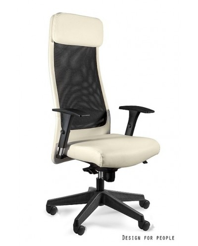 Beżowy fotel biurowy ARES SOFT czarna siatka / skóra ekologiczna