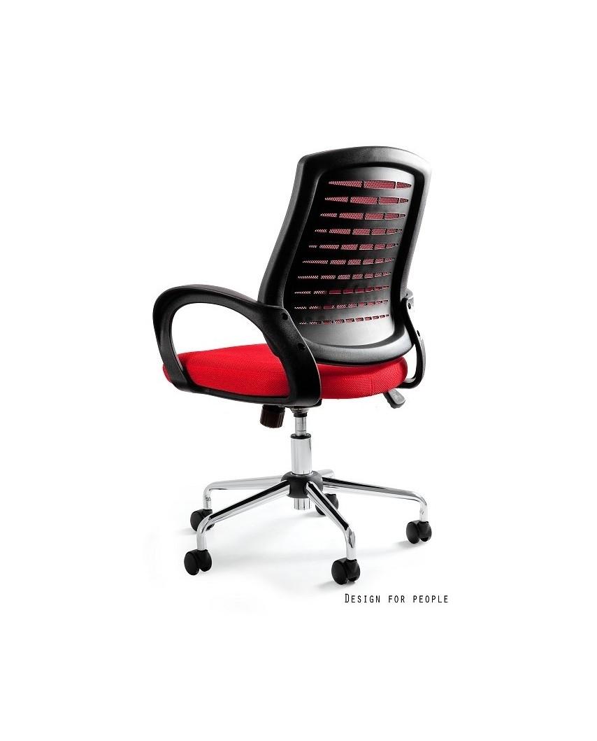Obrotowy fotel biurowy AWARD przewiewny - czerwony