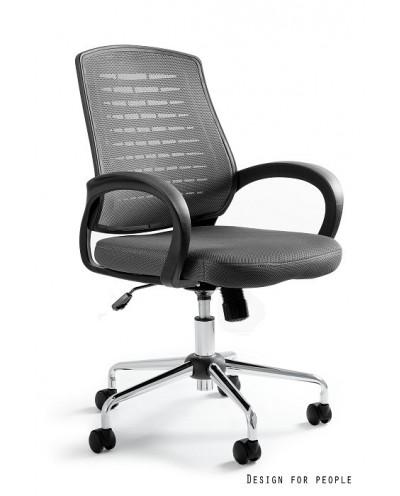 Obrotowy fotel biurowy AWARD przewiewny - szary