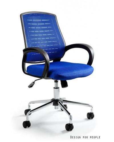 Obrotowy fotel biurowy AWARD przewiewny - niebieski