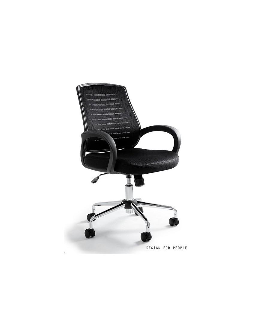 Obrotowy fotel biurowy AWARD przewiewny - czarny