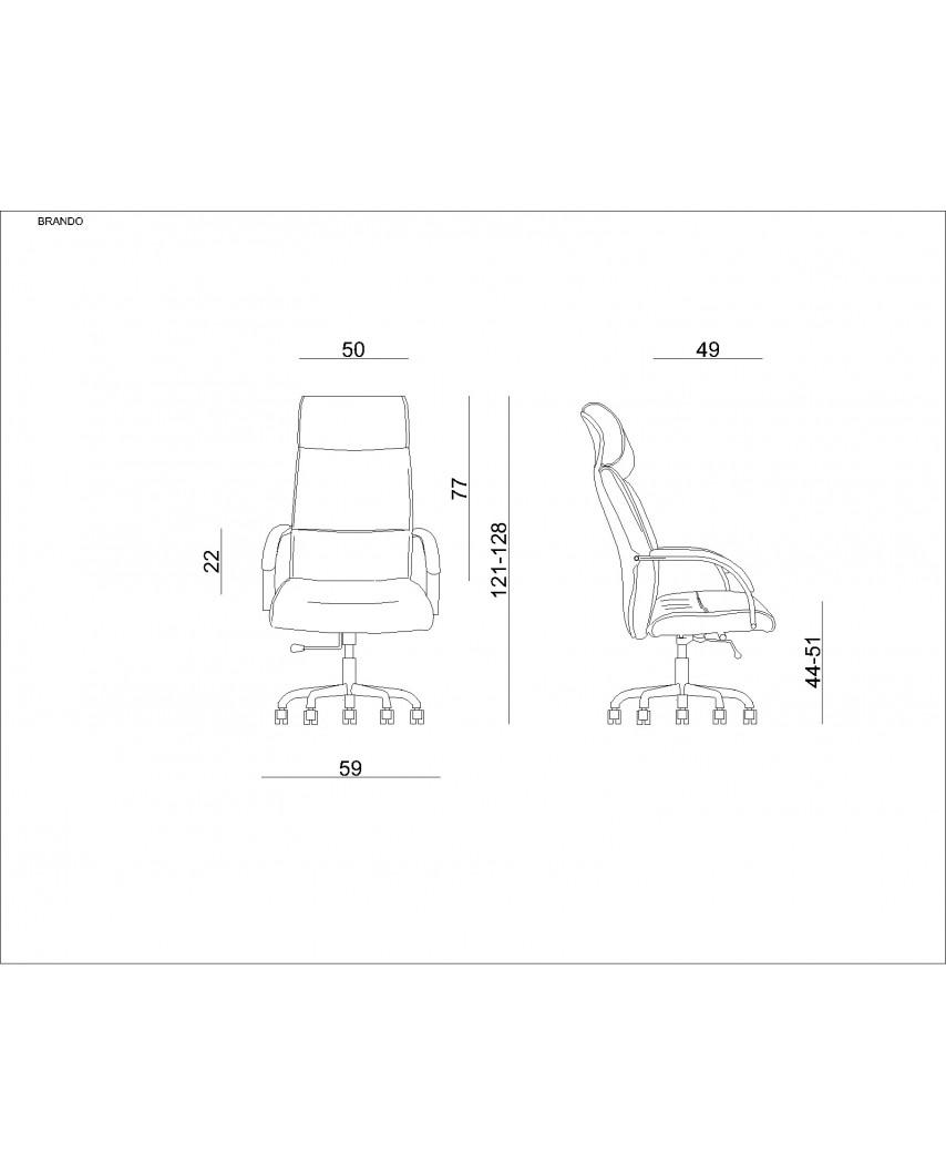 Czarny fotel biurowy BRANDO HL wysokie oparcie - skóra