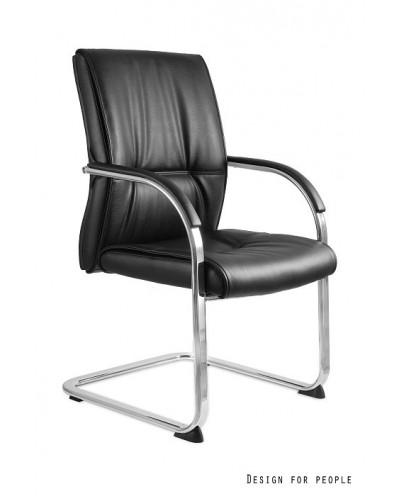 Czarne krzesło konferencyjne BLOSSOM SKID biurowe