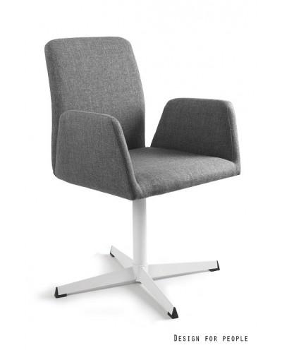 Materiałowe krzesło biurowe BRAVA szare obrotowe
