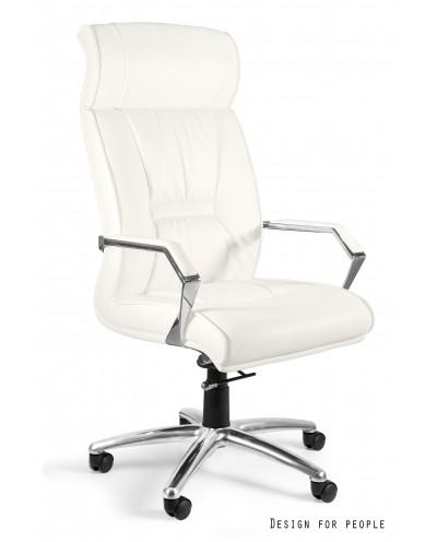 Biały fotel gabinetowy CELIO PU zagłówek - skóra ekologiczna