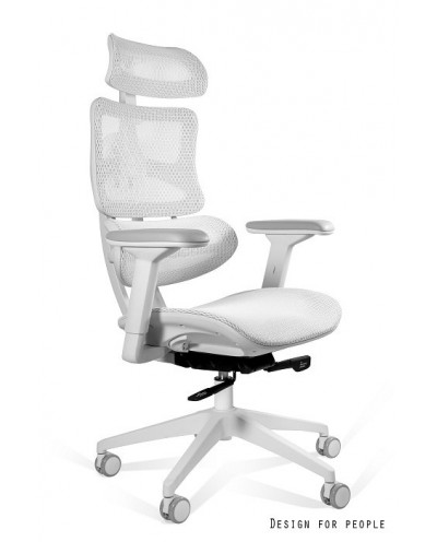 Biały fotel ergonomiczny ERGOTECH WHITE FRAME biała podstawa