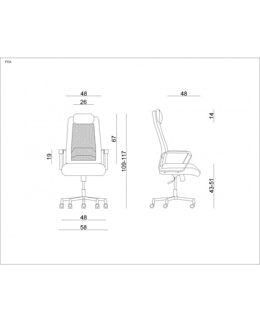 Czarny fotel biurowy obrotowy FOX siatka - Unique