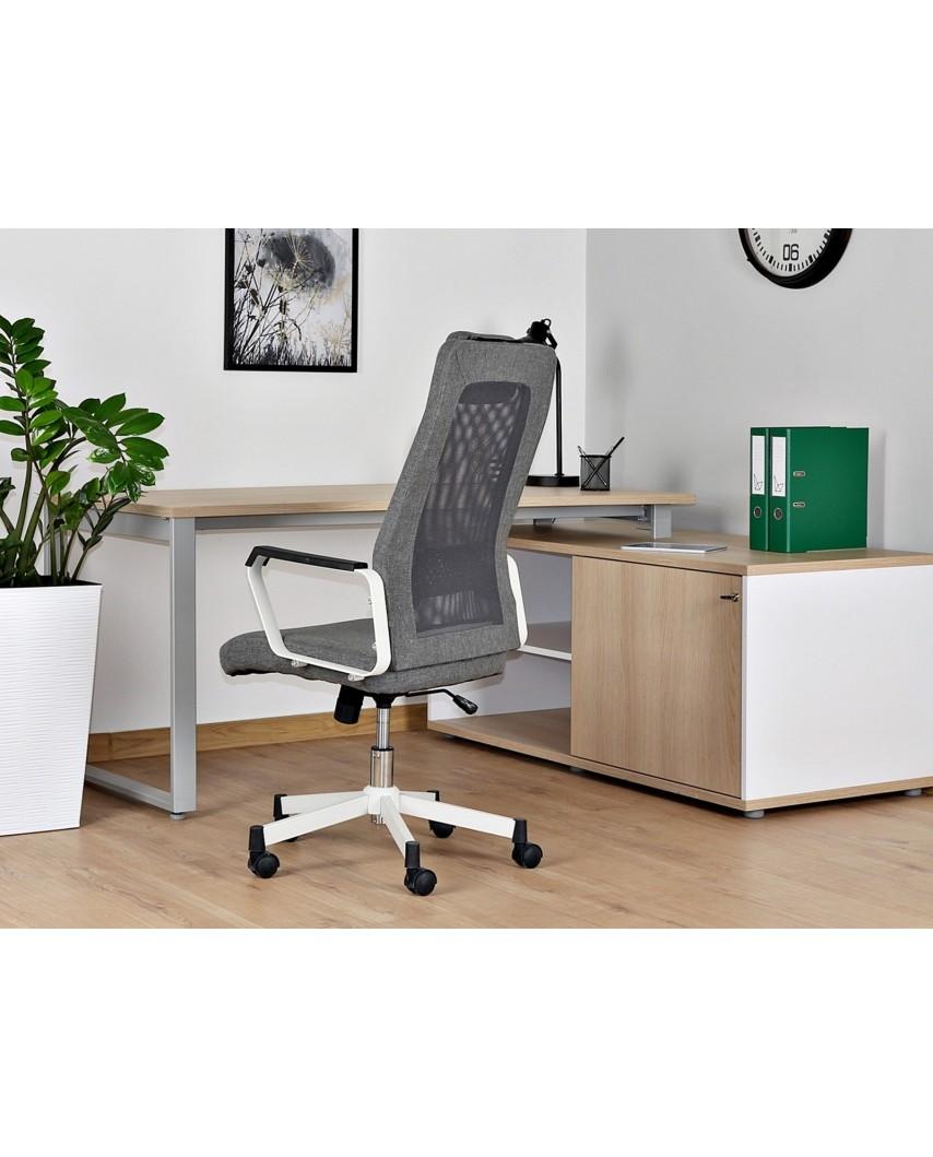 Szary fotel biurowy obrotowy FOX siatka - Unique