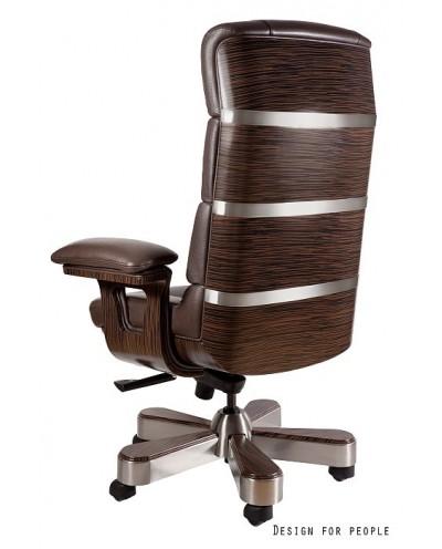 Brązowy fotel gabinetowy LORD HL skóra naturalna lite drewno