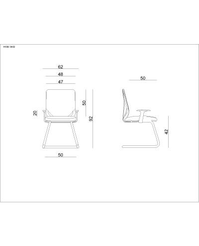 Czarne krzesło biurowe MOBI SKID konferencyjne - siatka