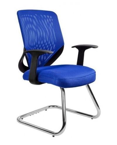 Niebieskie krzesło biurowe MOBI SKID konferencyjne - siatka