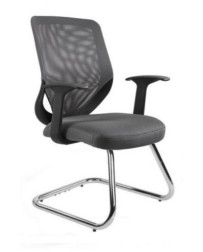 Szare krzesło biurowe MOBI SKID konferencyjne - siatka