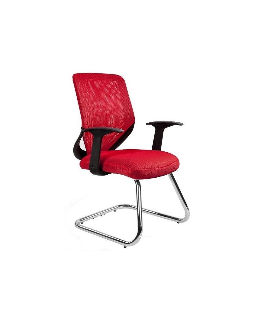 Czerwone krzesło biurowe MOBI SKID konferencyjne - siatka