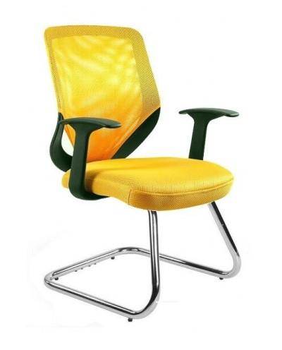 Żółte krzesło biurowe MOBI SKID konferencyjne - siatka