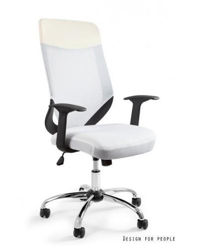 Biały fotel biurowy obrotowy MOBI PLUS tilt siatka