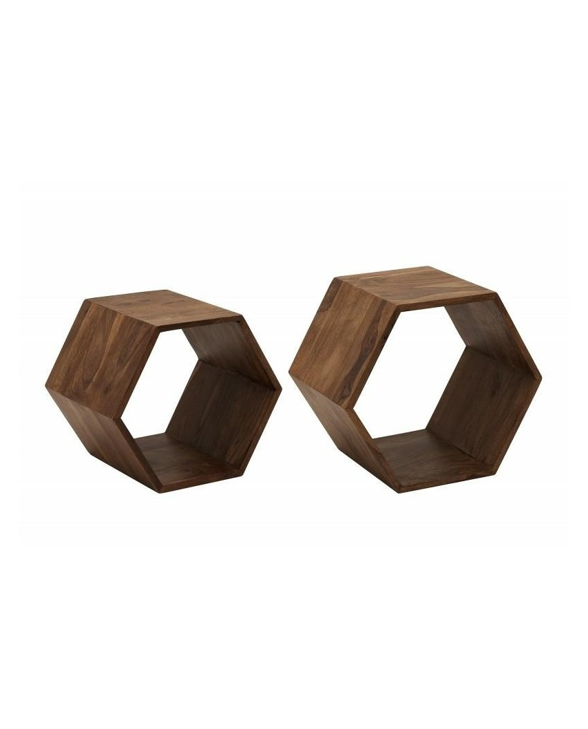 INVICTA półka HEXAGON zestaw Sheesham - drewno naturalne