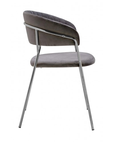 Krzesło MARGO SILVER ciemny szary - welur, podstawa chromowana