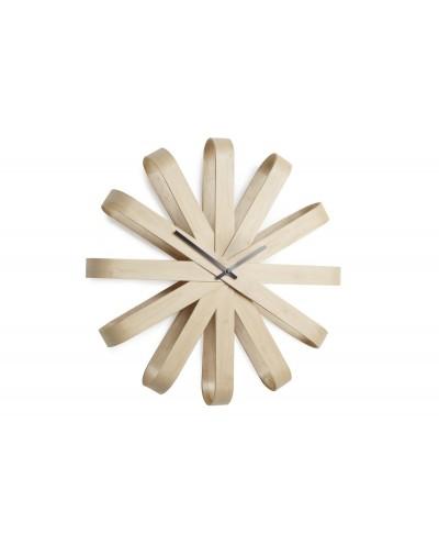 Zegar ścienny, drewniany, RIBBON